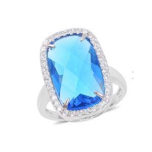 Simulated Aquamarine, Diamond Ring in Silvertone